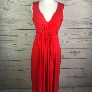 Calvin Klein Red Pleated Tie Front Party Dress